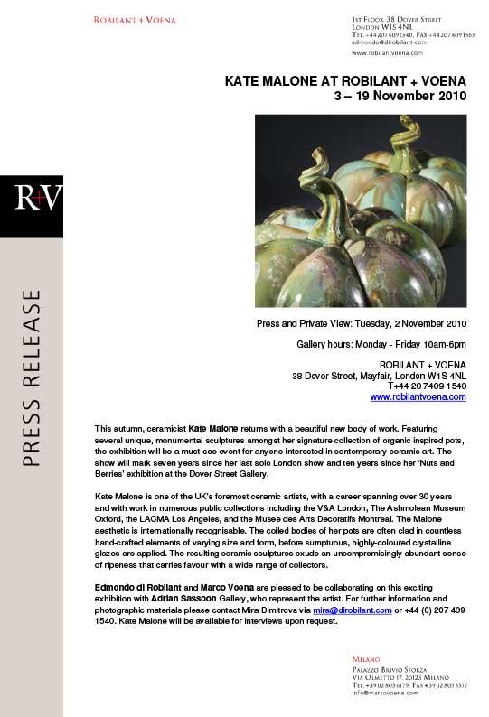 Robilant + Voena Press Release gallery 2010