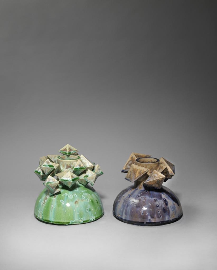 Green and purple diamond Magma pots