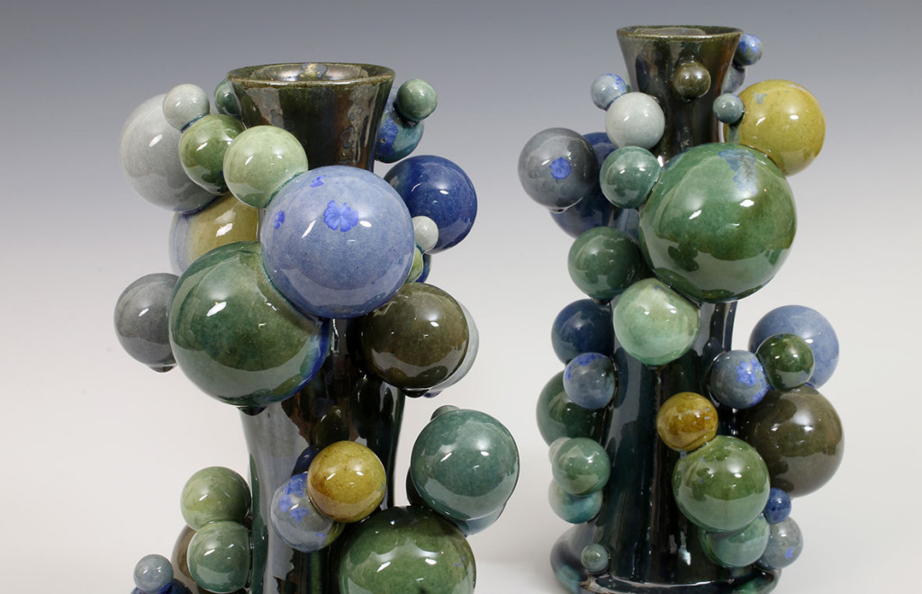 Atomic Candlesticks, Decorative arts ceramics by Kate Malone