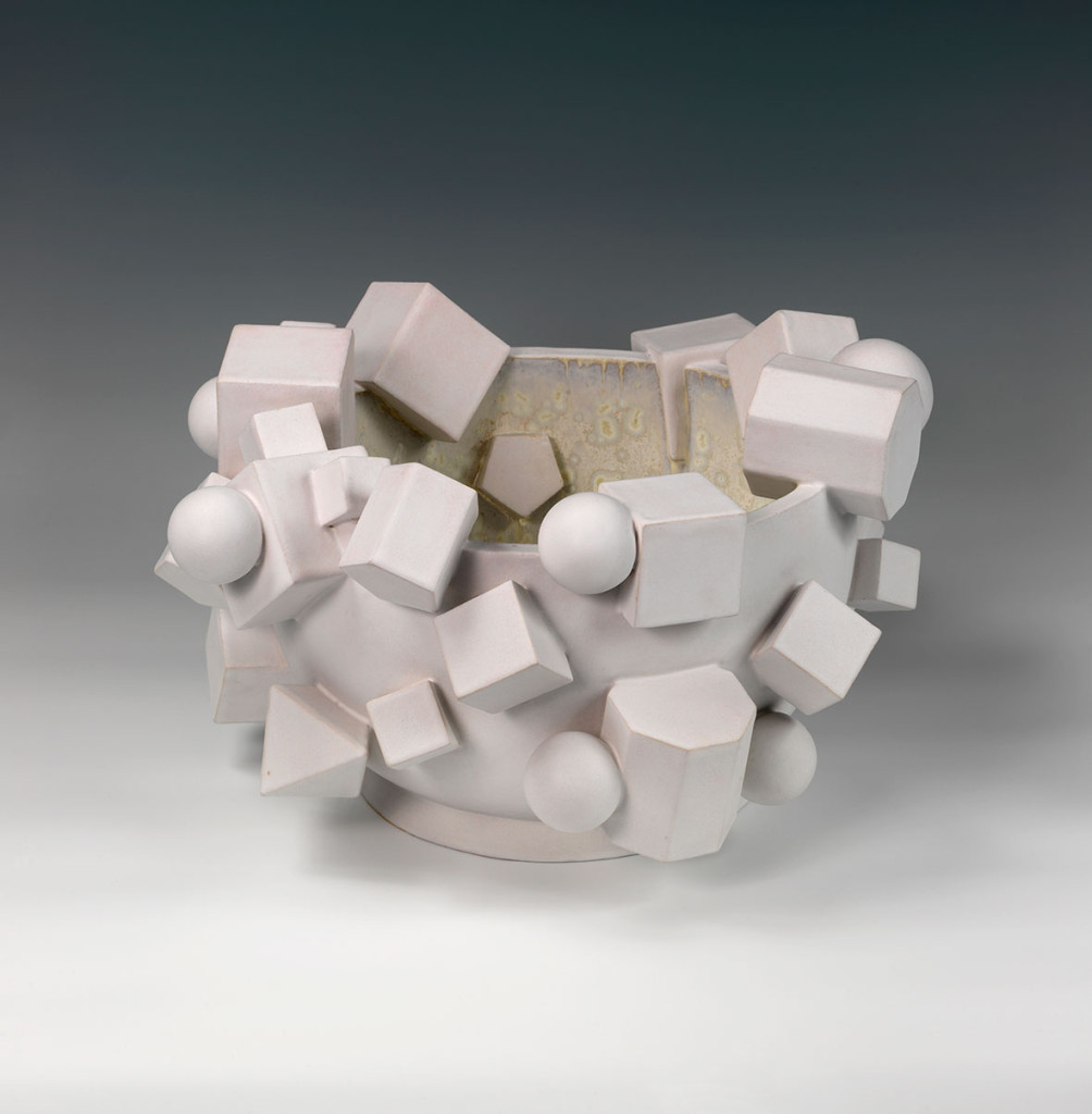 White Magma Bowl, Decorative arts ceramics by Kate Malone