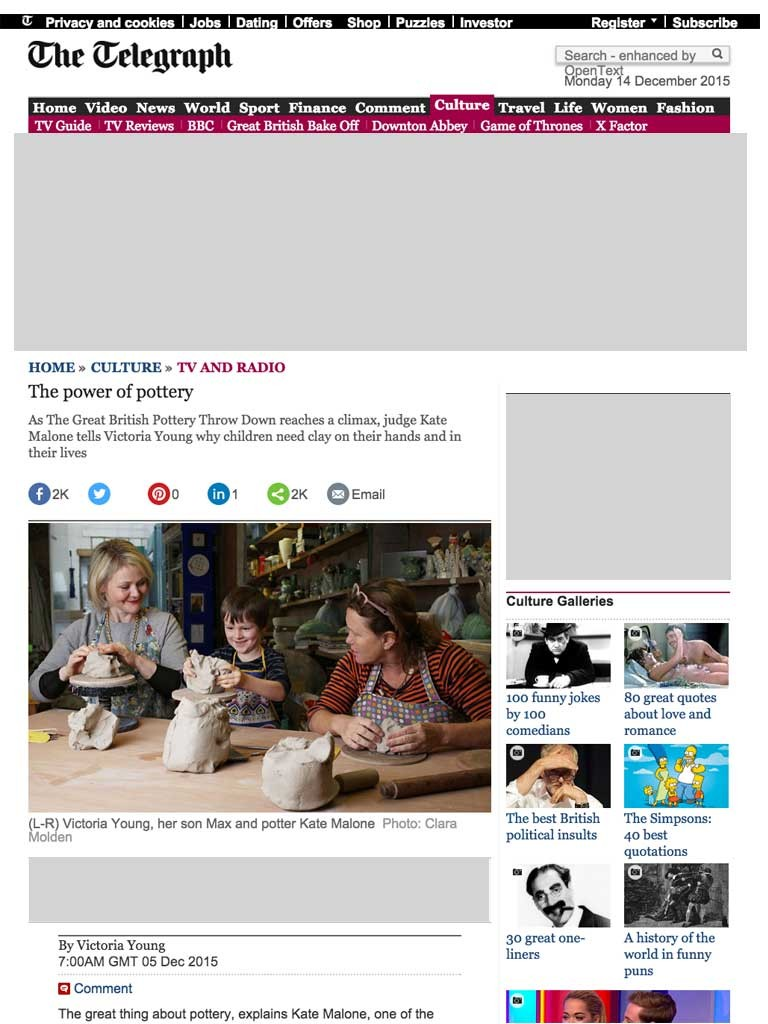Daily Telegraph Interview - Power of Pottery - 5/12/15